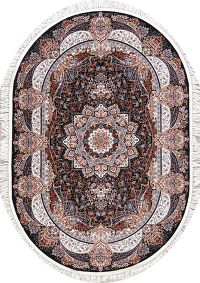 Transitional Black Floral Tabriz Turkish Oriental 5x7 Oval Area Rug