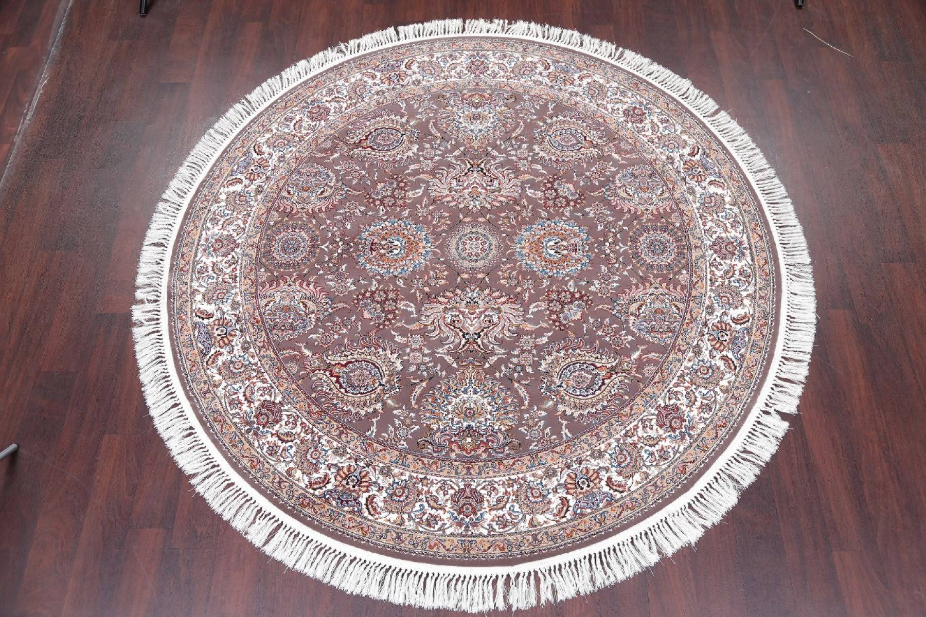 Brown Floral Tabriz Turkish Oriental 7x7 Round Area Rug