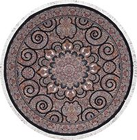Black Floral Tabriz Turkish Oriental 7x7 Round Area Rug