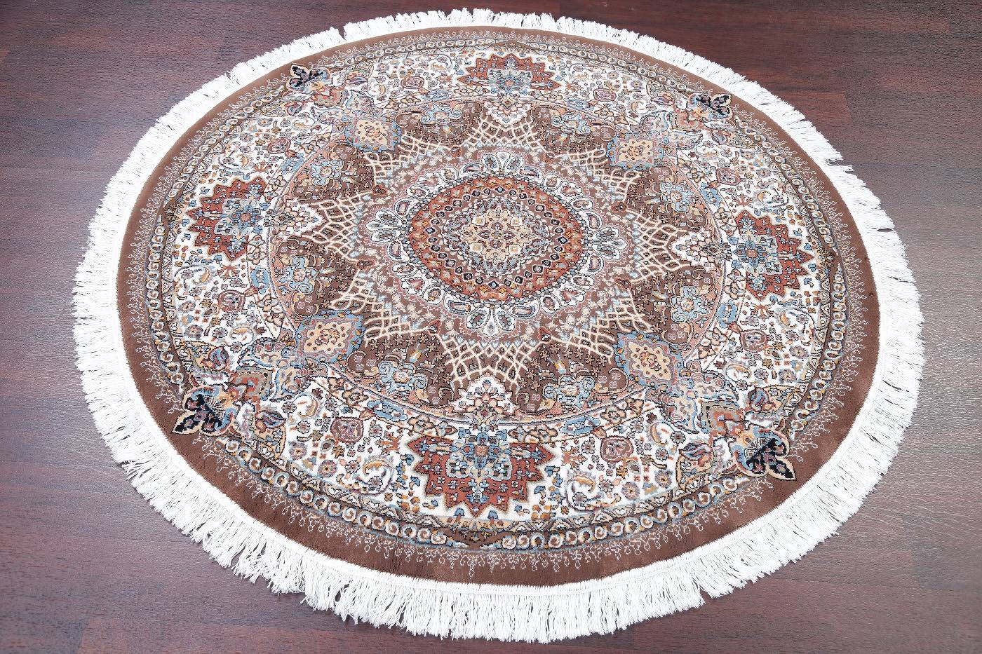 Brown Floral Tabriz Turkish Oriental 5x5 Round Area Rug