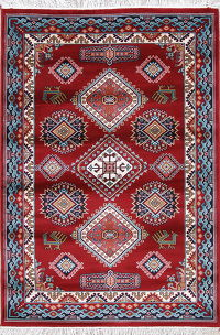 Red Geometric Kazak Turkish Oriental 5x7 Area Rug