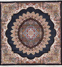 Black Floral Tabriz Turkish Oriental 7x7 Square Area Rug