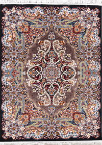 Transitional Black Floral Tabriz Turkish Oriental 5x7 Area Rug