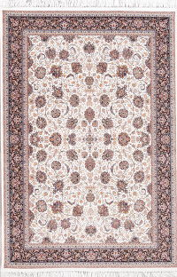 Ivory Floral Tabriz Persian 5x7 Area Rug