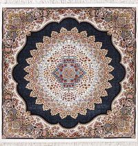 Transitional Black Floral Tabriz Turkish Oriental 7x7 Square Area Rug