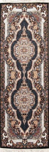 Transitional Black Floral Tabriz Turkish Oriental 3x10 Runner Rug