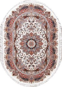 Transitional Ivory Floral Tabriz Turkish Oriental 5x7 Oval Area Rug