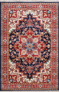 Navy Blue Geometric Heriz Turkish Oriental 5x7 Area Rug