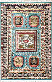 Light Blue Geometric Kazak Turkish Oriental Area Rug