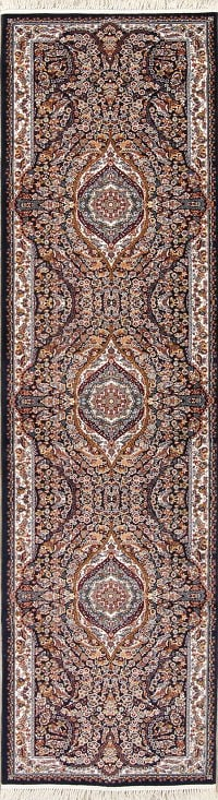 Black Floral Tabriz Turkish Oriental 3x13 Runner Rug