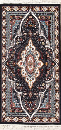 Black Geometric Tabriz Turkish Oriental 3x7 Runner Rug