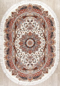 Ivory Geometric Tabriz Turkish Oriental 5x7 Oval Area Rug