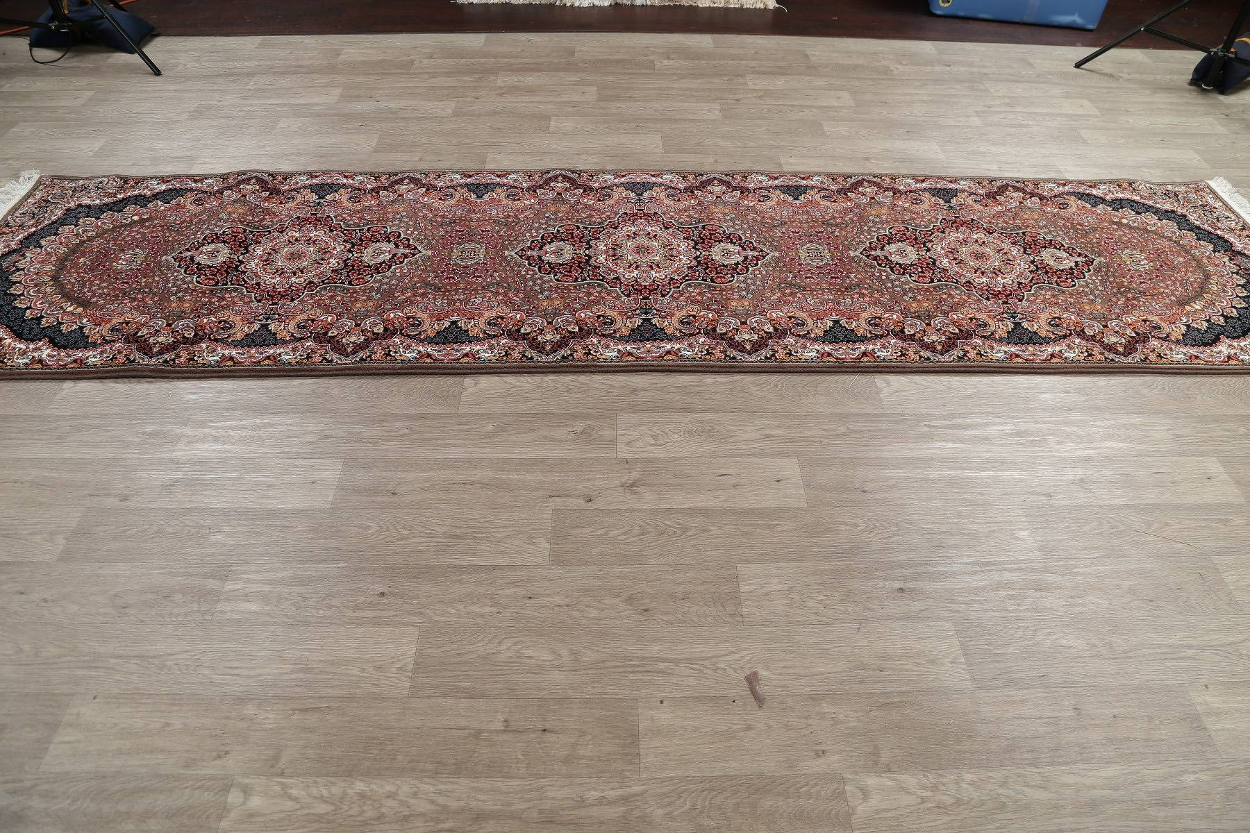 Transitional Brown Floral Tabriz Turkish Oriental 3x13 Runner Rug