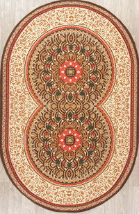 Geometric Oushak Turkish Oriental Hand-Knotted 5x7 Oval Area Rug