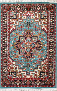 Geometric Medallion Heriz Turkish Oriental Area Rug