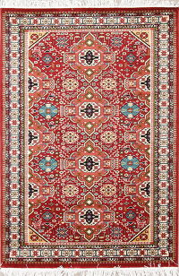 Red Geometric Kazak Turkish Oriental Area Rug