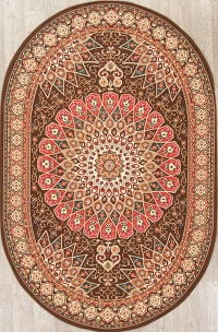 Brown Geometric Oushak Turkish Oriental 5x8 Oval Area Rug