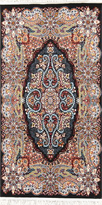 Black Floral Tabriz Turkish Oriental Rug