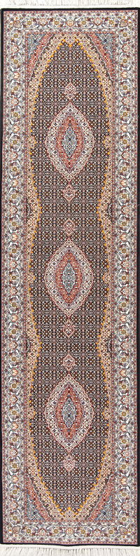 Black Geometric Bidjar Turkish Oriental 3x13 Runner Rug