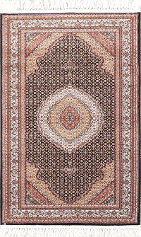 Black Geometric Bidjar Turkish Oriental 3x5 Rug