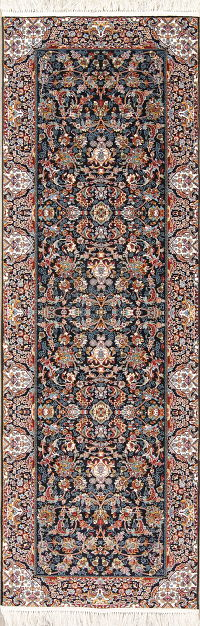 All-Over Floral Black Tabriz Turkish Runner Rug 3x10
