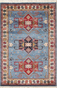 Blue Geometric Kazak Turkish Oriental Area Rug