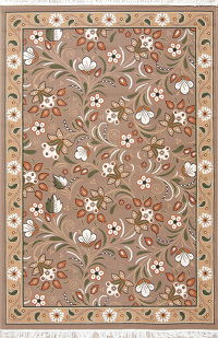 Brown Floral Modern Kilim Turkish Oriental 5x7 Area Rug