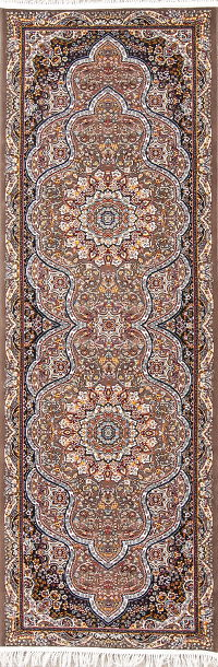 Brown Floral Tabriz Turkish Oriental 3x10 Runner Rug