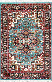 Aqua Blue Geometric Heriz Turkish Oriental 5x7 Area Rug