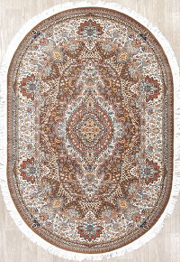 Brown Floral Tabriz Turkish Oriental 5x7 Oval Area Rug
