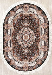 Black Floral Tabriz Turkish Oriental 5x8 Oval Area Rug