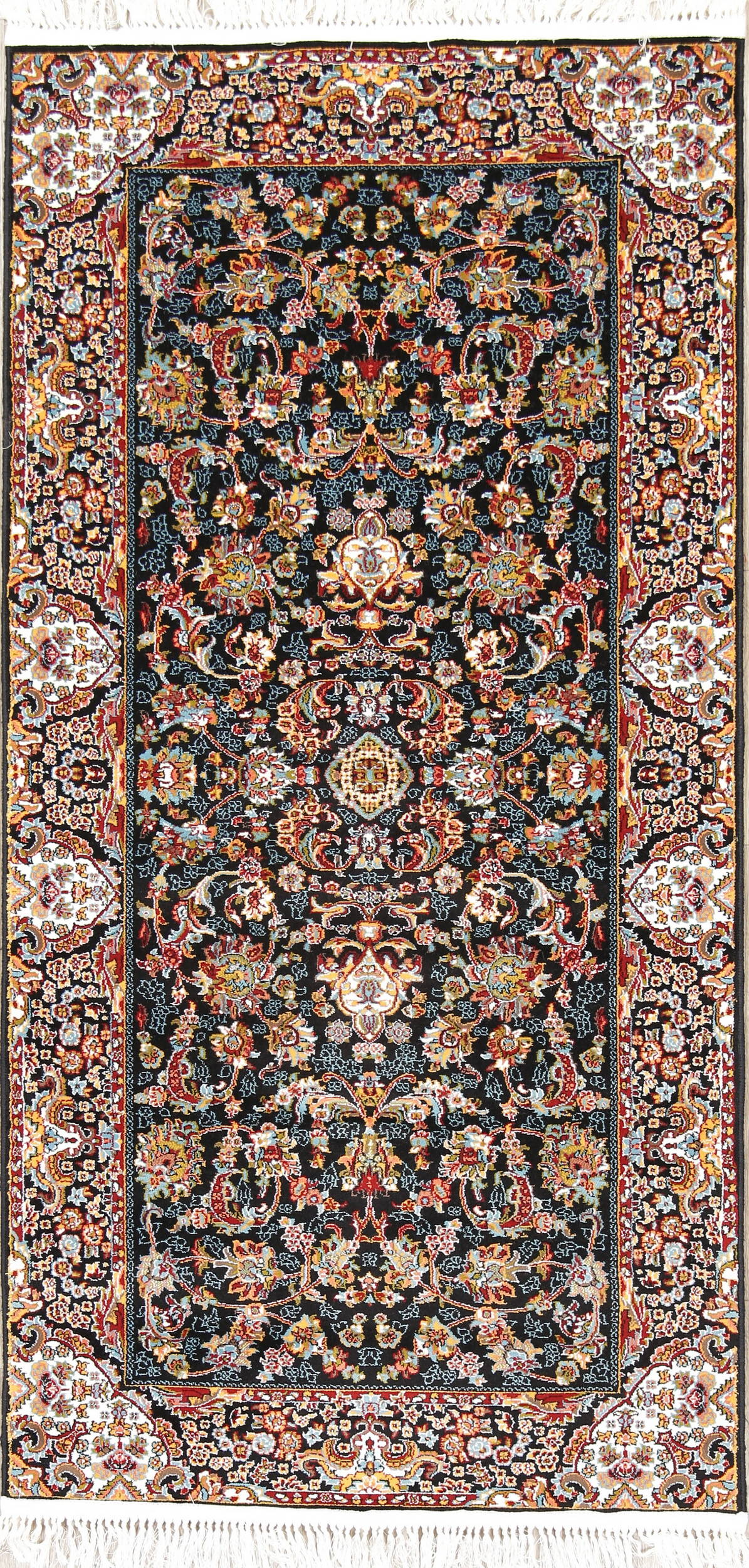 All-Over Black Floral Tabriz Turkish Oriental 3x7 Runner Rug