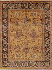 All-Over Gold Floral Agra Indian Oriental Hand-Knotted 8x10 Wool Area Rug