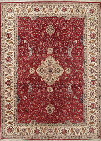 Red Floral Tabriz Pakistan Oriental Hand-Knotted 9x12 Wool Area Rug