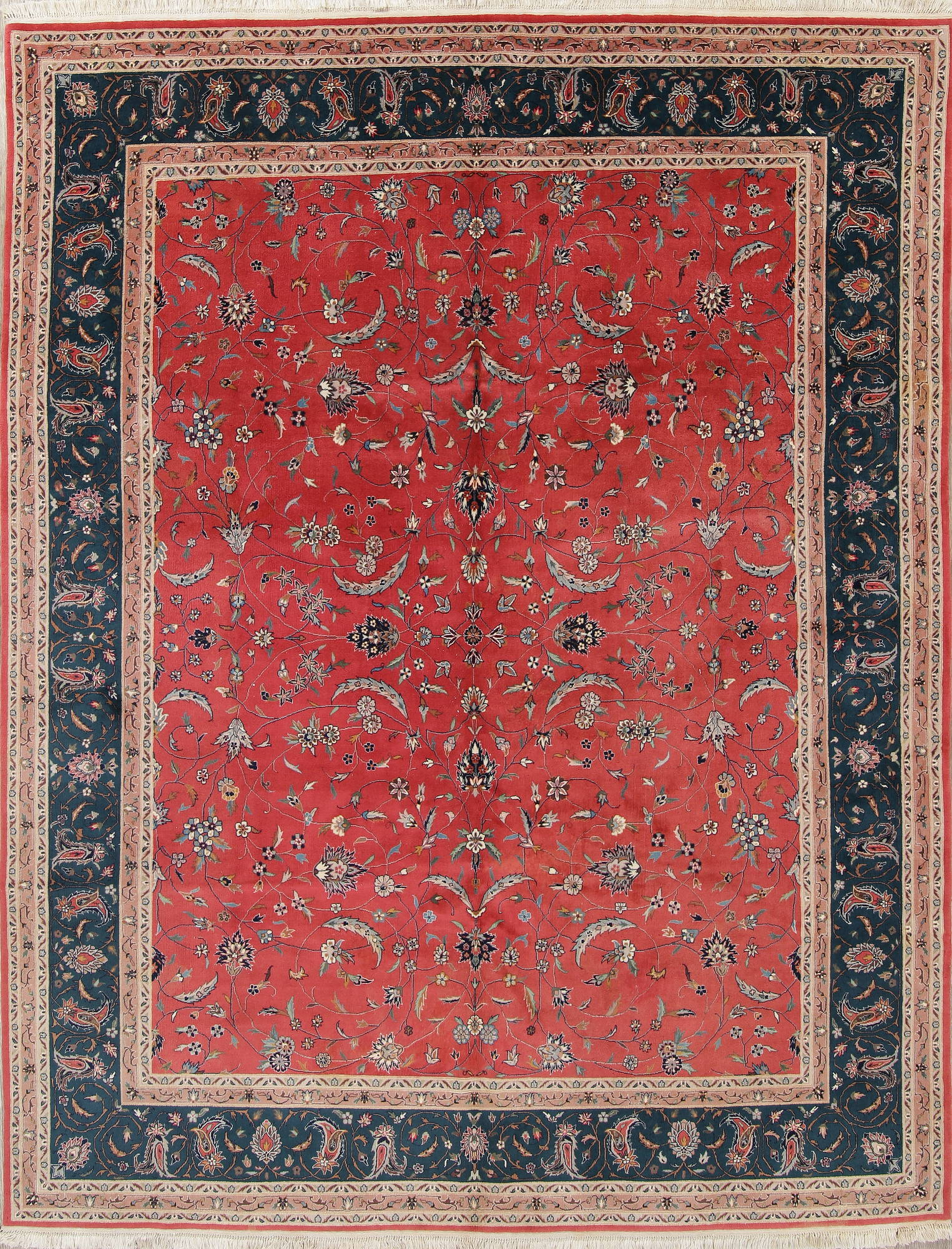 All Over Rust Red Floral Peshawar Oriental Hand Knotted 8x10 Wool