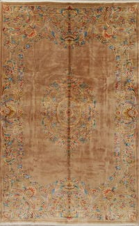 Light Brown Floral Art Deco Chinese Oriental Hand-Knotted 10x15 Wool Rug