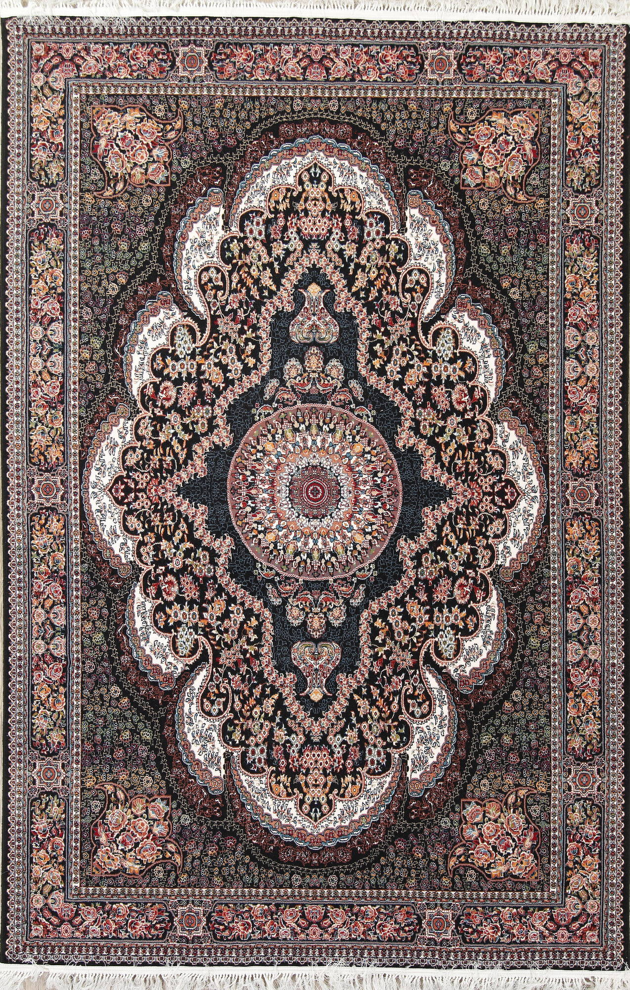 Black Floral Tabriz Turkish Oriental 7x10 Area Rug