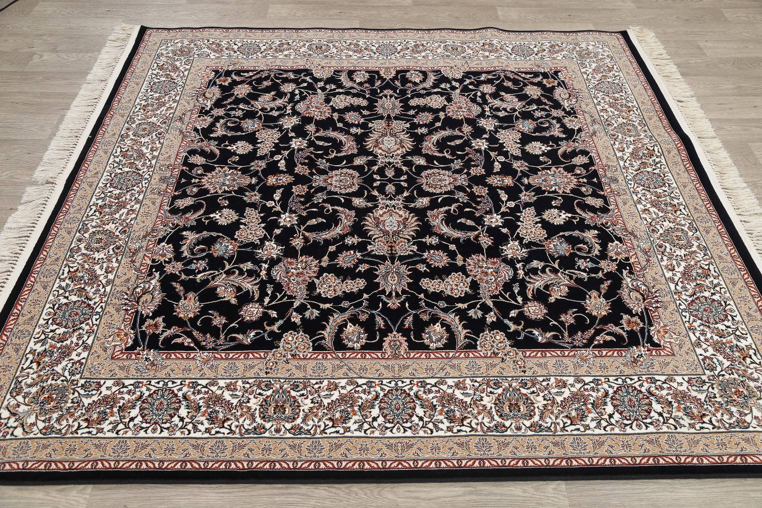 All-Over Black Floral Hereke Turkish Oriental 7x7 Square Area Rug
