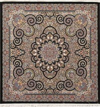 Black Floral Medallion Hereke Turkish Oriental 7x7 Square Rug