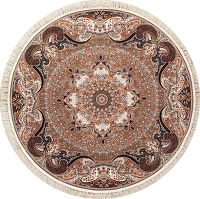 Brown Floral Hereke Turkish Oriental Rug 7x7 Round