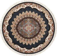 Black Floral Hereke Turkish Oriental 7x7 Round Area Rug