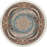 Teal Blue Floral Hereke Turkish Oriental 7x7 Round Area Rug