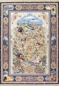 Pictorial Animal Hunting Design Tabriz Turkish Oriental 8x12 Area Rug