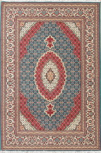 Teal Blue Floral Medallion Bidjar Turkish Oriental 7x10 Area Rug