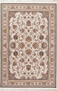 All-Over Ivory Floral Tabriz Turkish Oriental 7x10 Area Rug