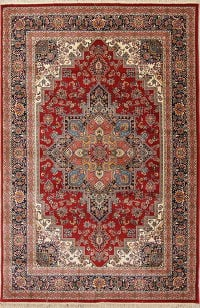 Red Geometric Tabriz Turkish Oriental 7x10 Area Rug