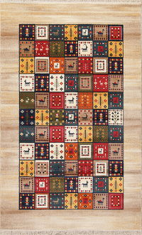 Tribal Geometric Gabbeh Turkish Oriental 7x10 Area Rug