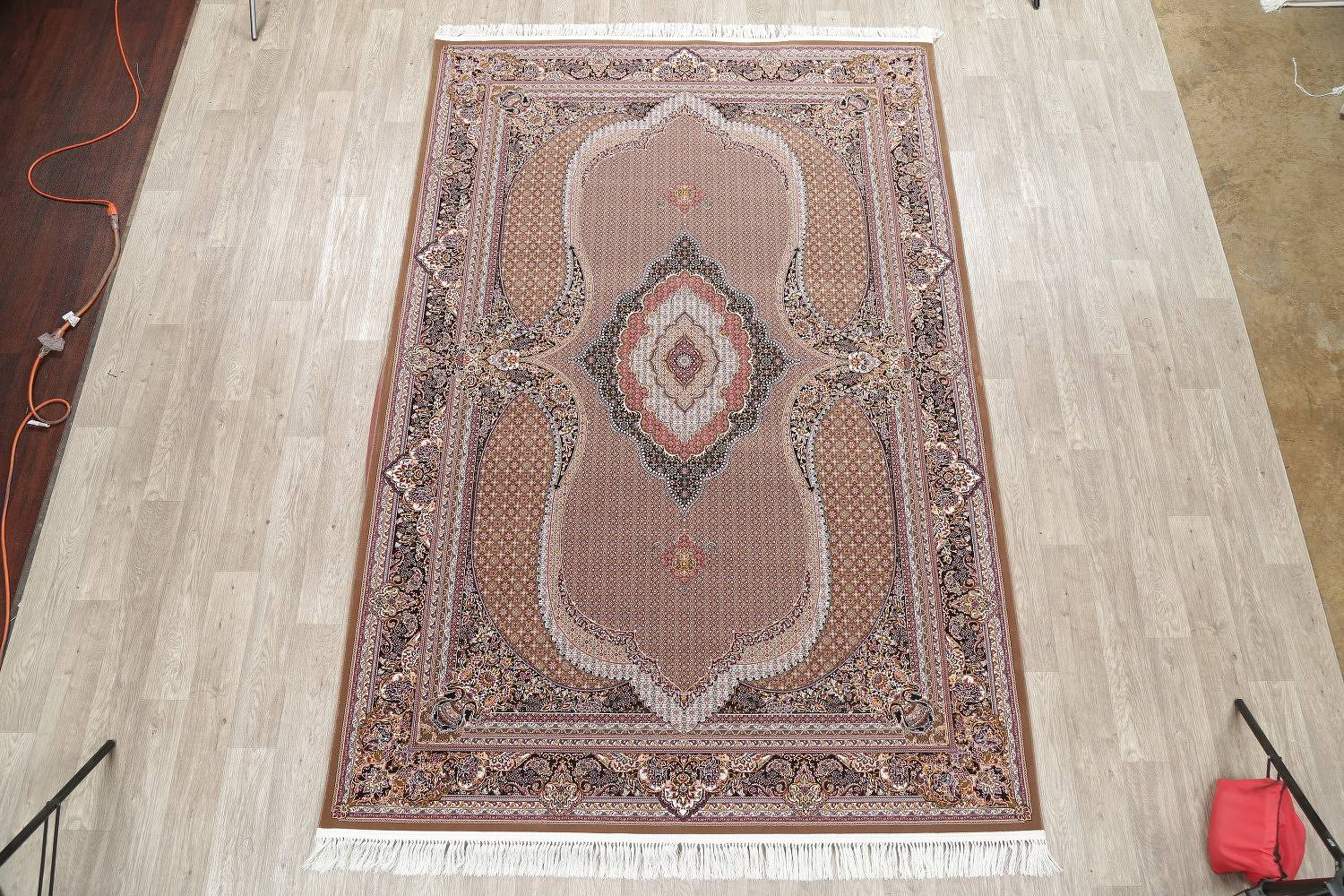 Brown Geometric Tabriz Mahi Turkish Oriental 7x10 Area Rug