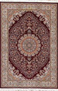 Burgundy Floral Medallion Tabriz Turkish Oriental 7x10 Area Rug