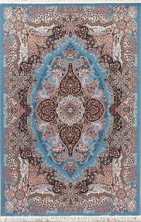 Blue Floral Tabriz Turkish Oriental 7x10 Area Rug